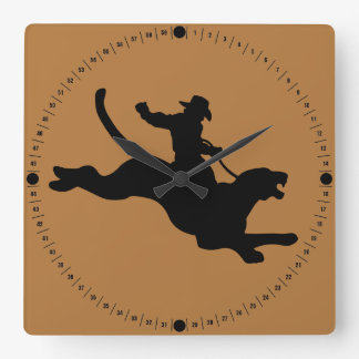 Cougar Rodeo Square Wall Clock