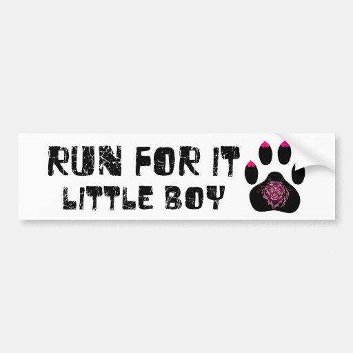 Cougar: Run For It Little Boy Bumper Sticker