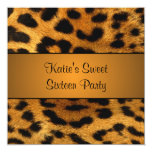 "Cougar Tiger Sweet 16 Birthday Party Invitation 5.25"" Square Invitation Card"