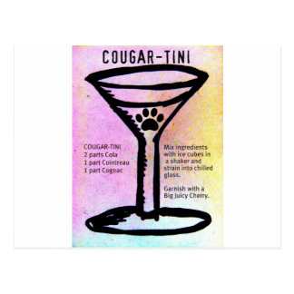 COUGAR-TINI MARTINI RECIPE DRINK PRINT POSTCARD