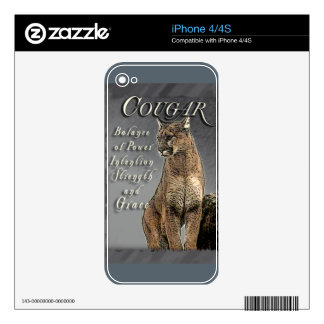 COUGAR TOTEM BALANCE OF POWER STRENGTH INTENTION DECALS FOR THE iPhone 4S
