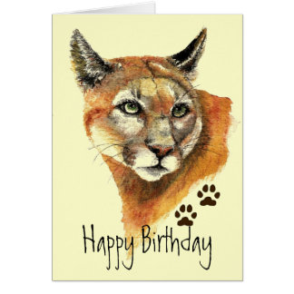 Cougar Tracks Birthday Greeting Card