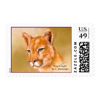 cougar wildlife cat art painting predator animal postage stamp