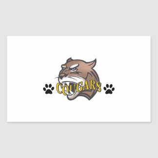 COUGAR WITH PAW PRINTS RECTANGLE STICKER