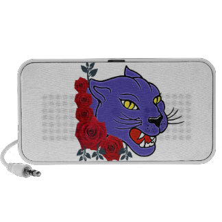 COUGAR WITH ROSES TATTOO ART PRINT PORTABLE SPEAKERS