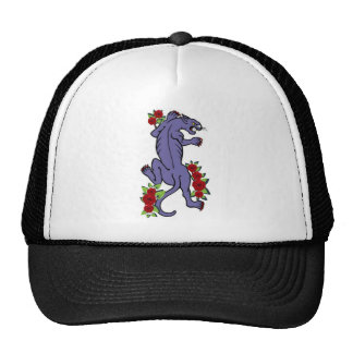 COUGAR WITH ROSES TATTOO ART PRINT TRUCKER HAT