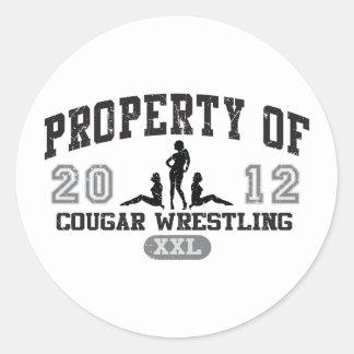 Cougar Wrestling Classic Round Sticker