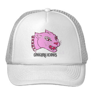 COUGARLICIOUS COUGAR PRINT IN HOT PINK TRUCKER HAT