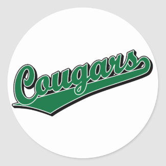 Cougars in Green Classic Round Sticker