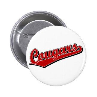 Cougars in Red Pinback Button