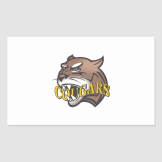 COUGARS MASCOT RECTANGLE STICKERS