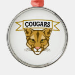 COUGARS ROUND METAL CHRISTMAS ORNAMENT