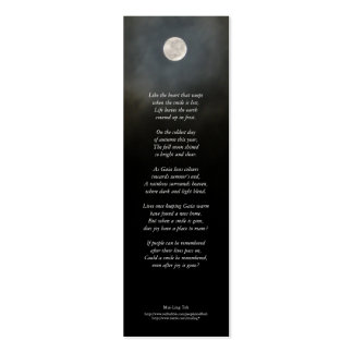 'Could a smile be remembered ...' poetry bookmark Business Cards