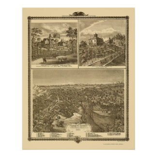 Council Bluffs, IA Panoramic Map - 1875 Poster