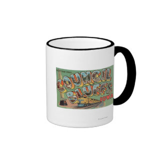 Council Bluffs, Iowa - Large Letter Scenes Ringer Coffee Mug