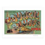 Council Bluffs, Iowa - Large Letter Scenes Postcard