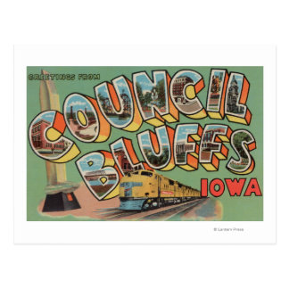 Council Bluffs, Iowa - Large Letter Scenes Postcard