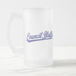 Council Bluffs script logo in blue Frosted Glass Beer Mug