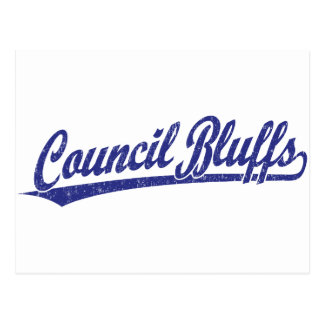 Council Bluffs script logo in blue Postcard