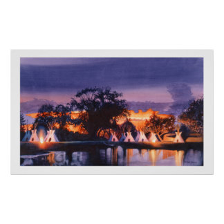 """Council Fires"" Watercolor, Paul Jackson Poster"