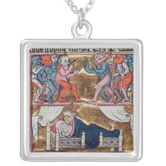 Council of Demons, from 'l'Histoire de Merlin' Square Pendant Necklace