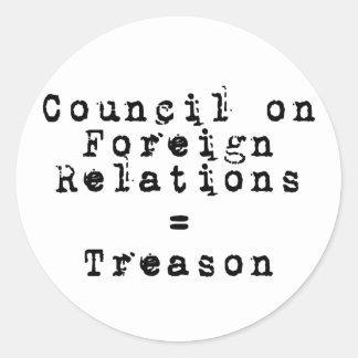 Council on Foreign Relations = traición Etiquetas Redondas
