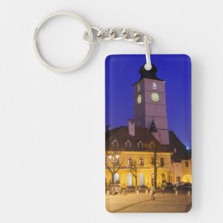 Council tower at night, Sibiu Keychain