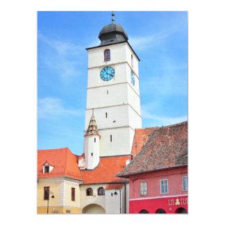 Council tower, Sibiu 6.5x8.75 Paper Invitation Card