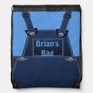 Counrty Folk Blue Overalls Custom BP Drawstring Bag
