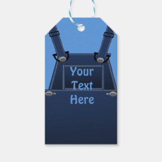 Counrty Folk Blue Overalls Custom Gift Tag