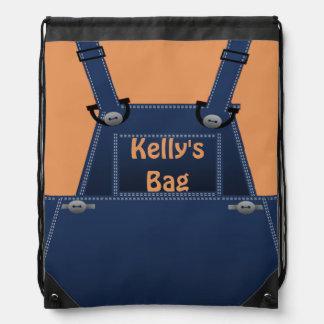 Counrty Folk Overalls Custom BP Drawstring Backpack