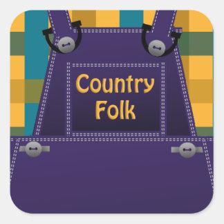 Counrty Folk Overalls Plaid Custom Sticker