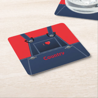 Counrty Folk Overalls Red Heart Custom Coaster