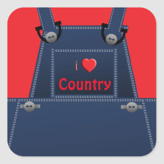 Counrty Folk Overalls Red Heart Custom Sticker
