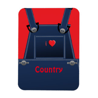 Counrty Folk Overalls Red Heart PM Magnet