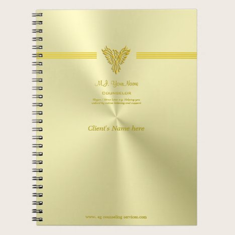 Counseling session notes, gold rising phoenix notebook