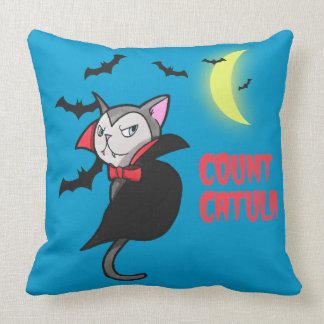 Count Catula Pun Illustration Throw Pillow