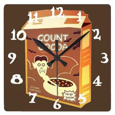 Halloween Themed Count Cocoa Box square clock