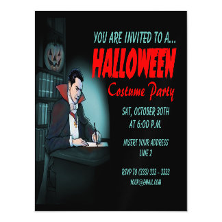 Count Dracula Halloween Party Magnetic Card