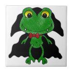 Count Frogula: Cute Vampire Frog Ceramic Tile