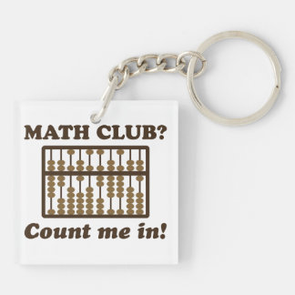 Count Me in the Math Club Double-Sided Square Acrylic Keychain