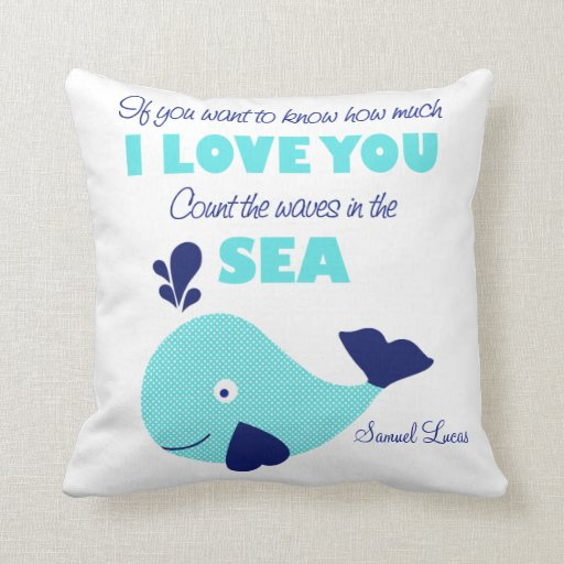 Count the Waves Whale Nautical Keepsake Pillow