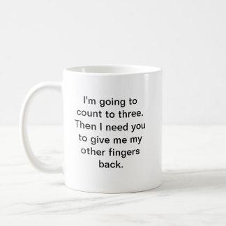 Count to Three Classic White Coffee Mug