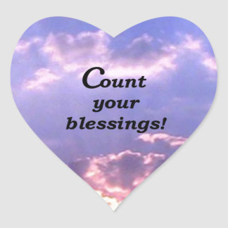 Count Your Blessings Heart Sticker