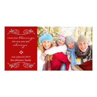 Count your Blessings New Year Photo Card Red Customized Photo Card