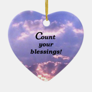 Count Your Blessings Double-Sided Heart Ceramic Christmas Ornament