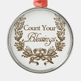 count your blessings vintage typography metal ornament
