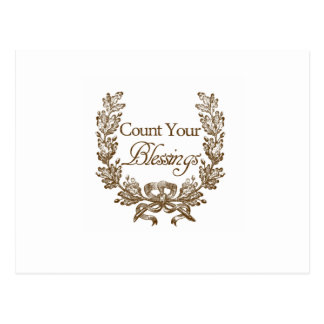 count your blessings vintage typography postcard