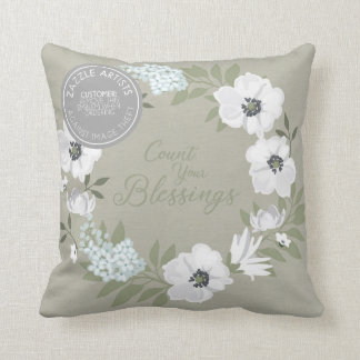 Count Your Blessings White Floral Yearous Throw Pillow
