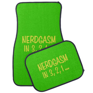 Countdown to Nerdgasm - Green Background Car Mat